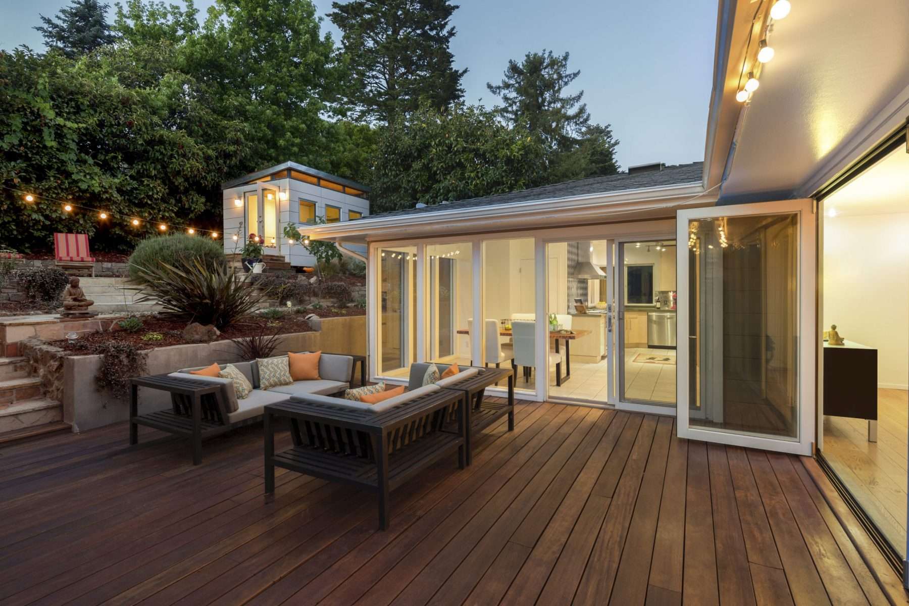 Amazing furniture patio / wooden deck at twilight.