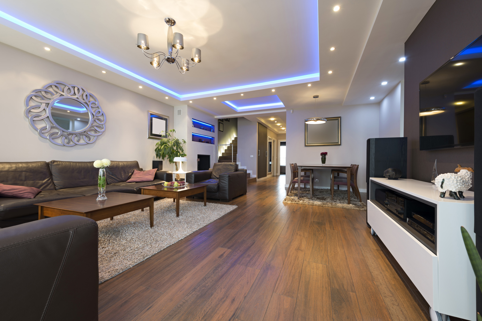 Luxury specious living room interior with modern LED lighting