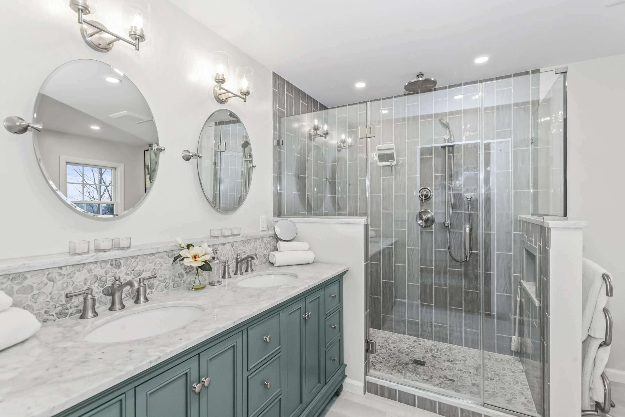 renovated bathroom in a new jersey home.