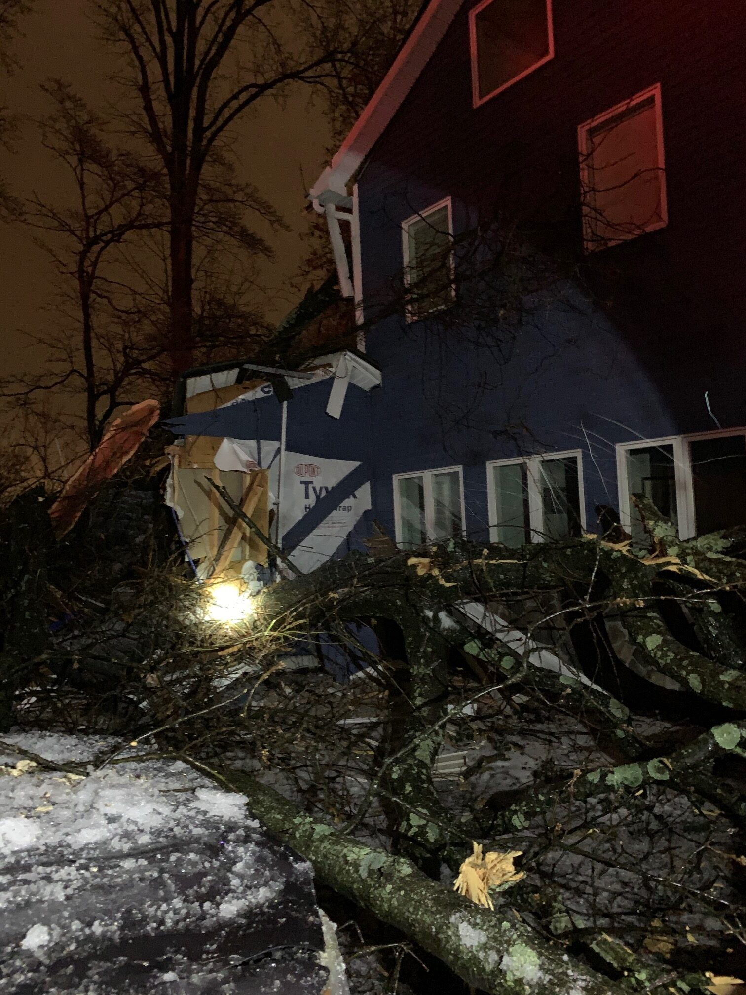 Home damaged due to a severe storm.